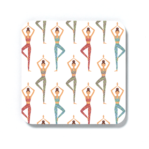 Yoga Illustration Coaster | Yogis Posing In Tree Pose, Namaste, Gift For Yoga Lover, Yogi, Yoga Drinks Mat