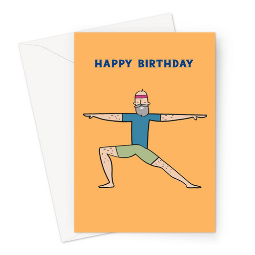 Yoga Man Happy Birthday Greeting Card | Yoga Man In Warrior One Birthday Card For Him, Yogi, Yoga Lover, Namaste, Meditation
