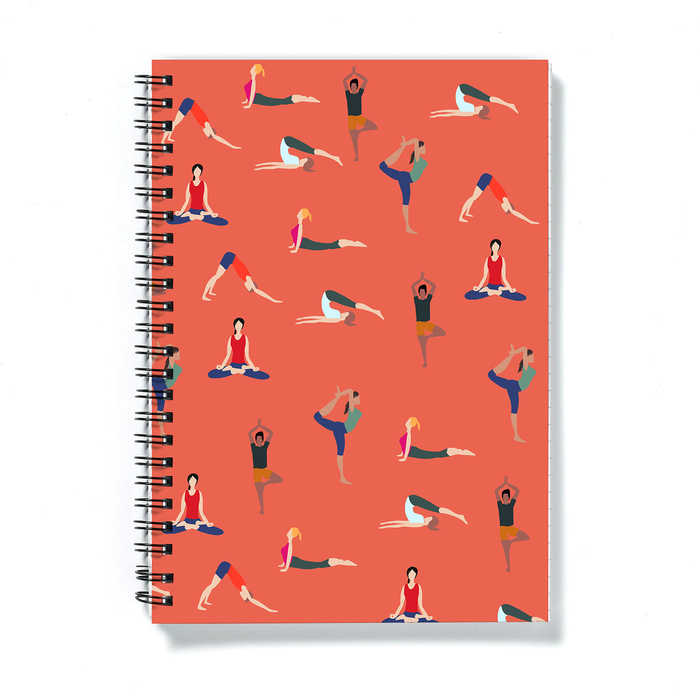 Yoga Poses A5 Notebook | Yogis Posing Notebook, Gift For Yoga Lover, Lotus Pose, Cobra Pose, Downward Facing Dog, Tree Pose, Namaste