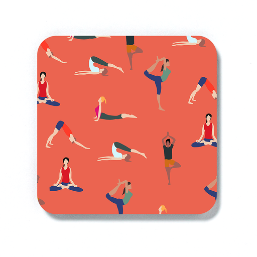 Yoga Poses Coaster | Yogis Posing Drinks Mat, Gift For Yoga Lover, Lotus Pose, Cobra Pose, Downward Facing Dog, Tree Pose, Namaste