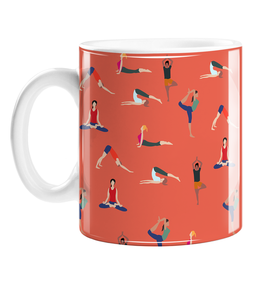 Yoga Poses Mug | Yogis Posing Ceramic Mug, Gift For Yoga Lover, Lotus Pose, Cobra Pose, Downward Facing Dog, Tree Pose, Namaste