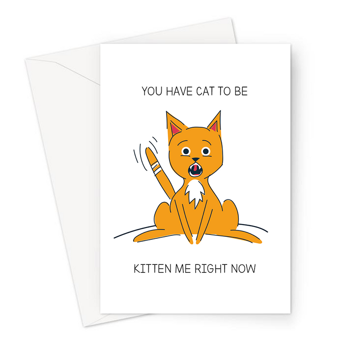 You Have Cat To Be Kitten Me Right Now Greeting Card | Funny Sympathy Card, Shocked Cat Illustration, Cat Pun, Kitten Pun, Whoops