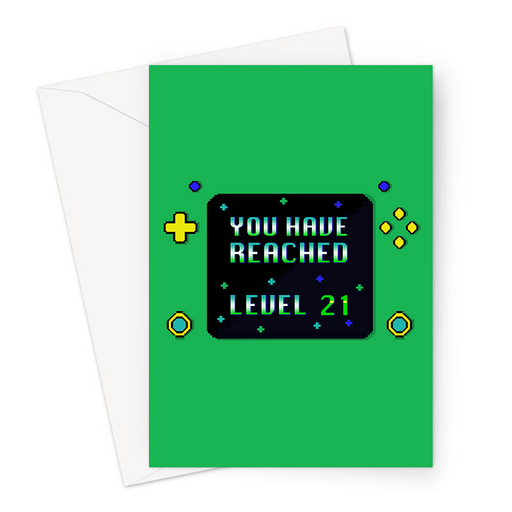 You Have Reached Level 21 Greeting Card | Pixel Design Gaming Console Twenty First Birthday Card In Green For Twenty One Year Old Gamer, Him, Gaming Obsessed, Boyfriend, Son, Brother, 21st