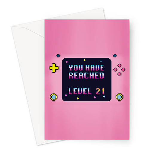 You Have Reached Level 21 Greeting Card | Pixel Design Gaming Console Twenty First Birthday Card In Pink For Twenty One Year Old Gamer, Her, Gaming Obsessed, Girlfriend, Daughter, Sister, 21st