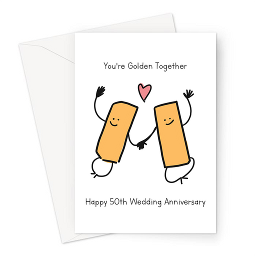 You're Golden Together Happy 50th Wedding Anniversary Greeting Card | Golden Anniversary, Gold Bars In Love, For Grandparents, Married Fifty Years