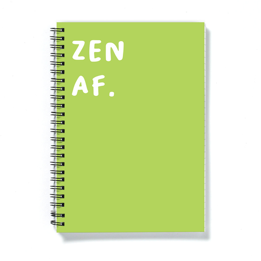 Zen AF. A5 Notebook | Funny Journal For Yogi, Colourful Calm Notepad For Yoga Enthusiast, Namaste, Meditation, Yoga Diary