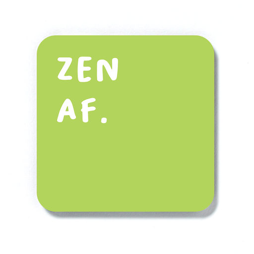 Zen AF. Coaster | Zen Drinks Mat, Housewarming Gift For Yogi, Yoga Enthusiast, Namaste, Meditation