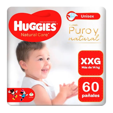 Pañales Huggies Natural Care 100% Cotton Talla XXG 60 unids