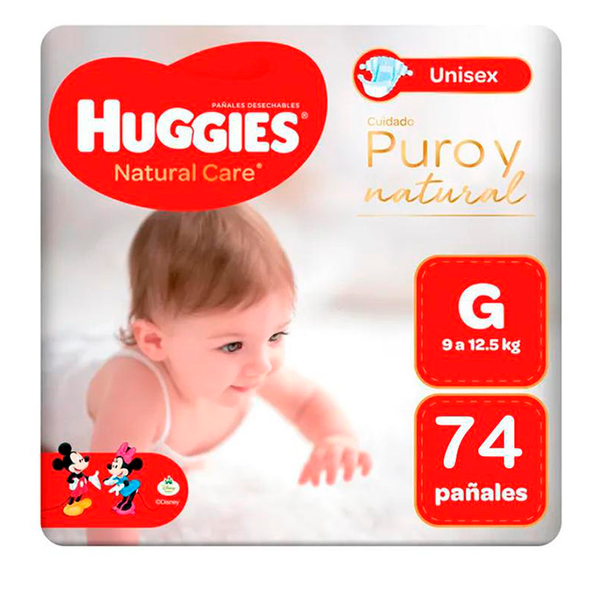 Pañales Huggies Natural Care 100% Cotton Talla G 74 unids