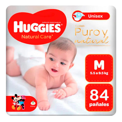 Pañales Huggies Natural Care 100% Cotton Talla M 84 unids