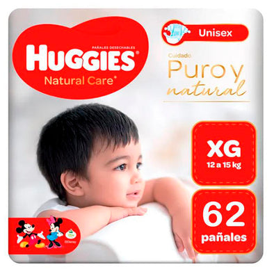 Pañales Huggies Natural Care 100% Cotton Talla XG x 62 unids