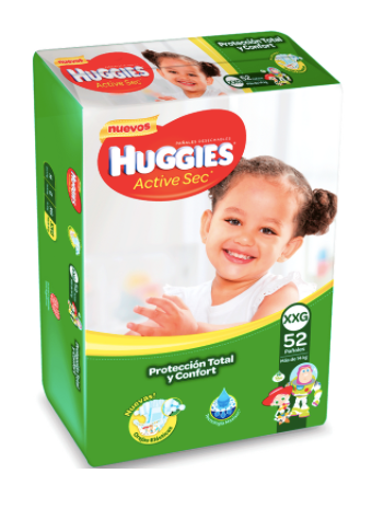 Pañales Huggies Active Sec Talla XXG 52 unids DOWNCOUNTING