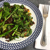 HARISSA PUY LENTILS WITH SPROUTING BROCCOLI, HERBS AND GREENS