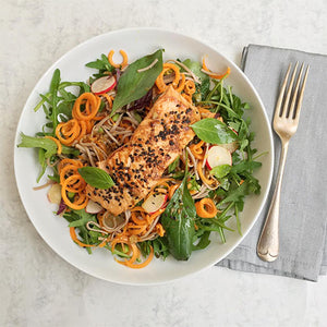 SESAME SALMON WITH SPICY CARROT AND BUCKWHEAT NOODLE SALAD