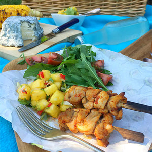 SPICY CHICKEN SKEWERS WITH PINEAPPLE SALSA