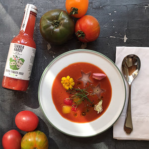 CHILLED TOMATO, RED PEPPER AND STRAWBERRY SOUP