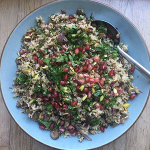FESTIVE CHESTNUT, PISTACHIO AND POMEGRANATE PILAF
