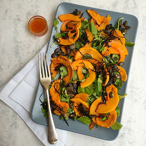 ROASTED PUMPKIN, WATERCRESS AND ARAME SALAD WITH YUZU, PONZU AND BLOOD ORANGE DRESSING