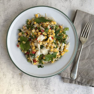 SUMMER SUPPER : SWEETCORN AND CRAB NOODLES WITH FRESH LIME AND CHILLI