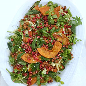ROAST PUMPKIN, SPICED CHICKPEA AND POMEGRANATE SALAD