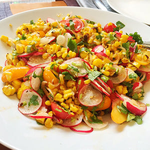CHARRED CORN, SHALLOT, RADISH AND HERITAGE TOMATO SALAD