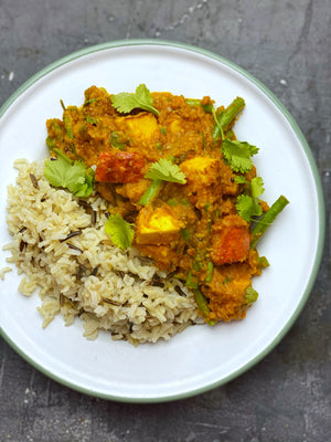 Pumpkin, paneer or tofu, and green bean curry