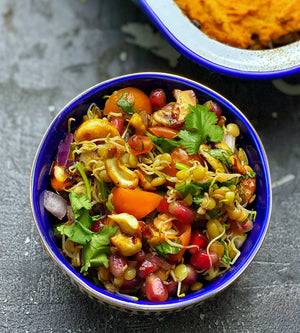 Sprouted mung bean and pomegranate chaat