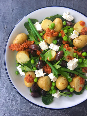 New potato, pea and olive salad with feta and Oak Smoked Paprika pesto dressing
