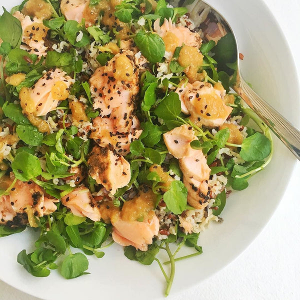 Sesame Salmon with Shallot Dressing