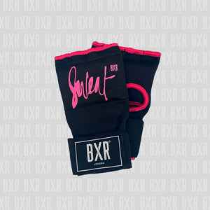 BXR Slip on Padded Hand Wraps - Sweat Black/Pink