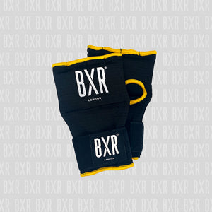 BXR Slip on Padded Hand Wraps - Black/Yellow
