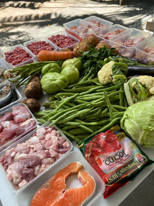 fresh vegetables and meat