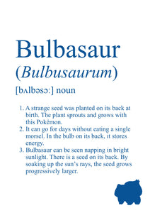 Pokemon Dictionary Definition 0001 Bulbasaur