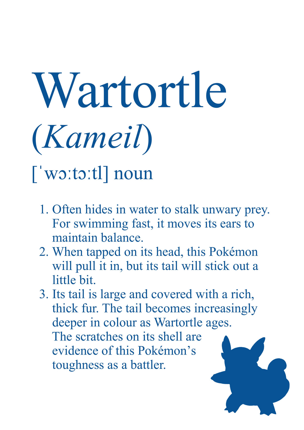 Pokémon Dictionary Definition 0008 Wartortle
