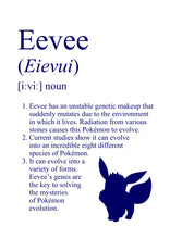 Load image into Gallery viewer, Pokémon Dictionary Definition 0133 Eevee