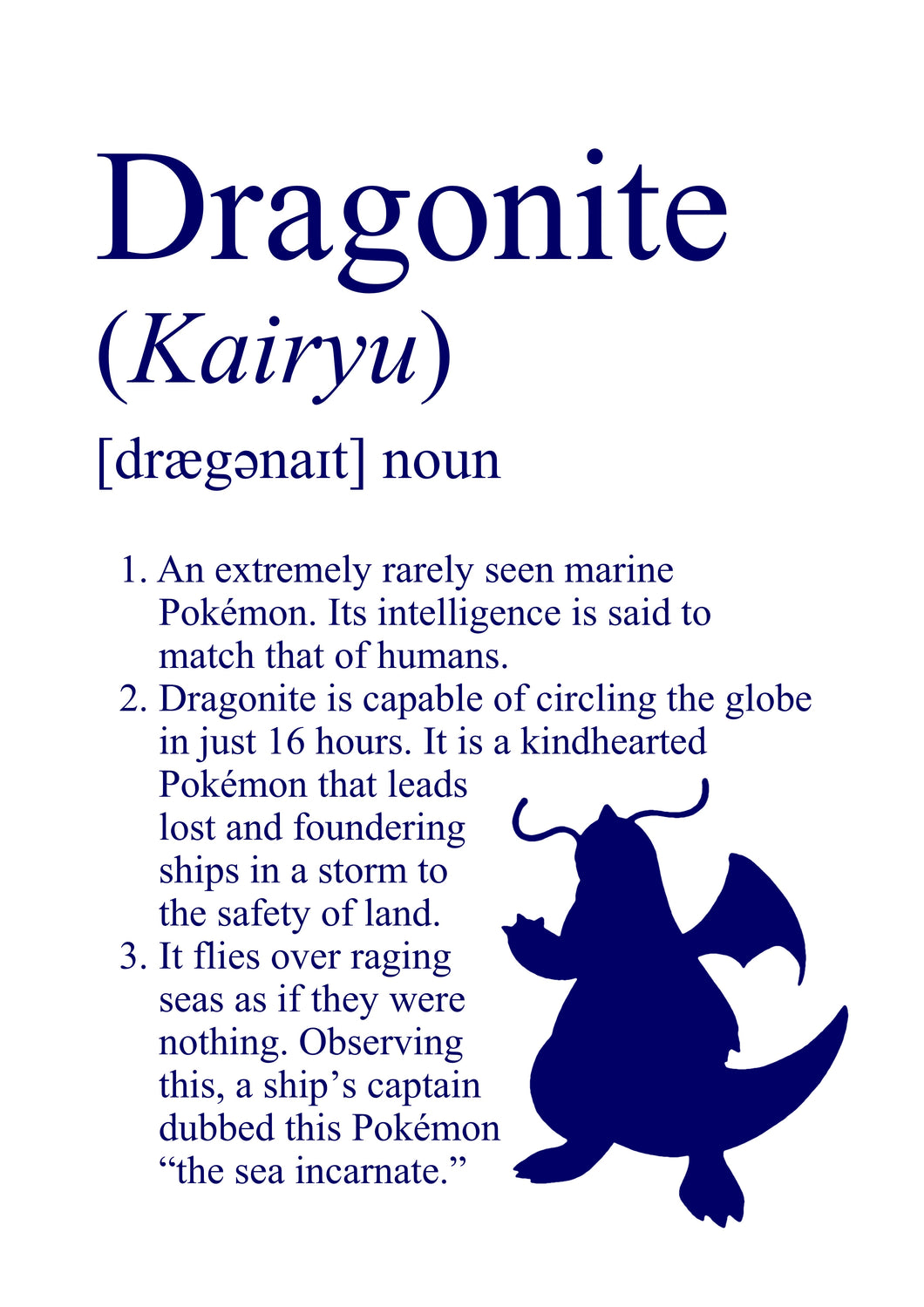 Pokémon Dictionary Definition 0149 Dragonite