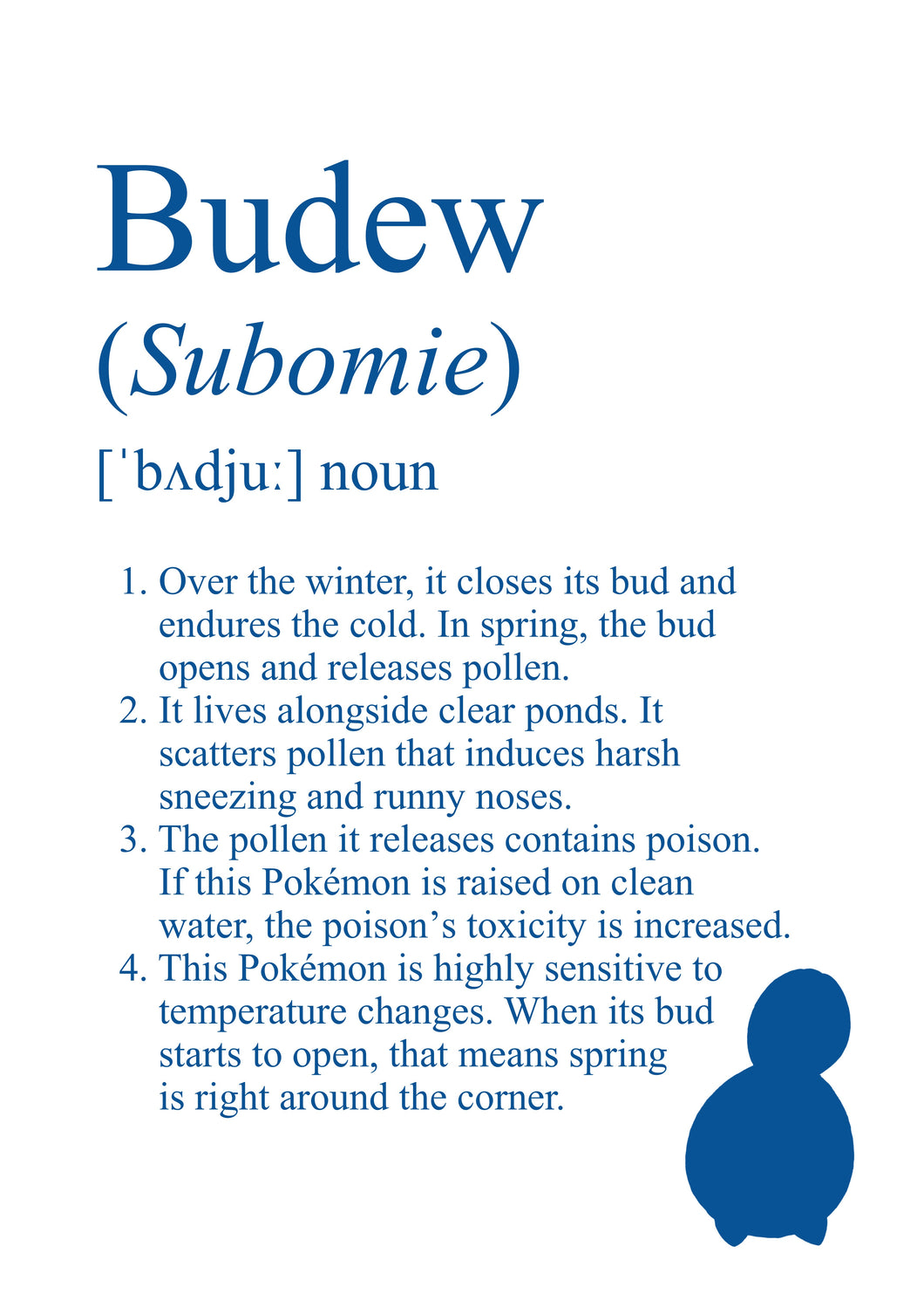 Pokémon Budew Dictionary Definition