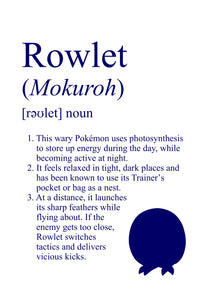 Pokémon Dictionary Definition 0722 Rowlet