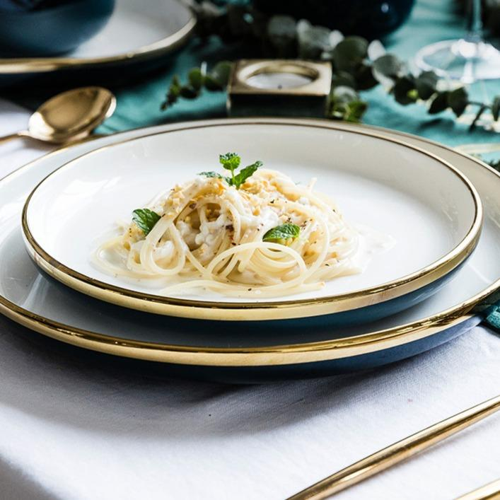 Bergen | Ceramic with Gold Rim Dinnerware