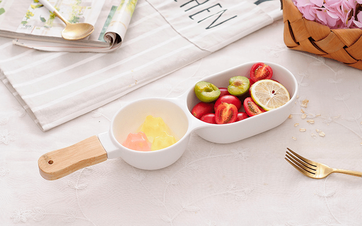 Poppy | Double Dip Serveware with Wooden Handle