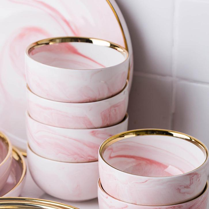 Carra Pink | Marbled Print Ceramic with Gold Rim Serving Bowl