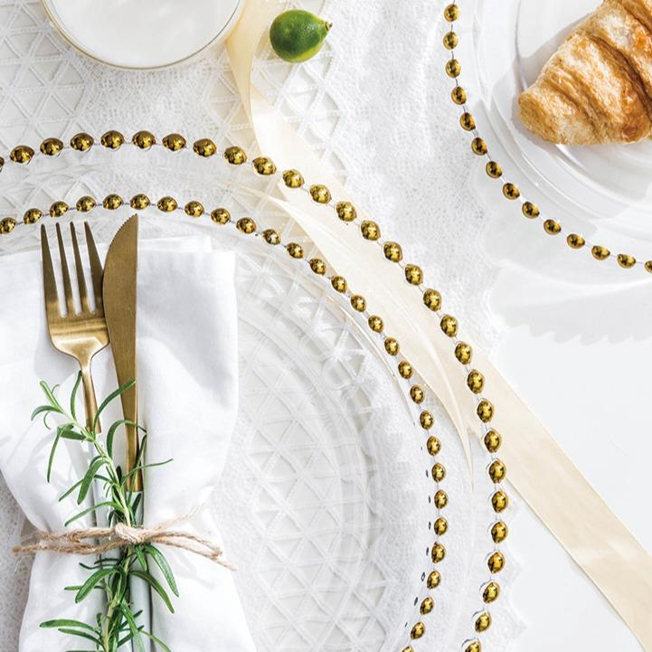 Caspian | Glass with Detailed Gold Rim Dinnerware