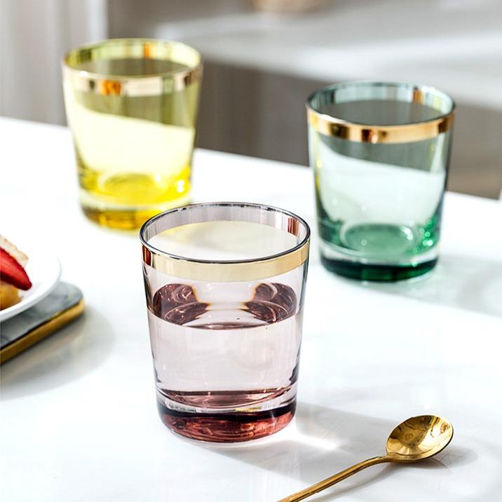 Caterina | Colored Glass with Gold Rim Detail