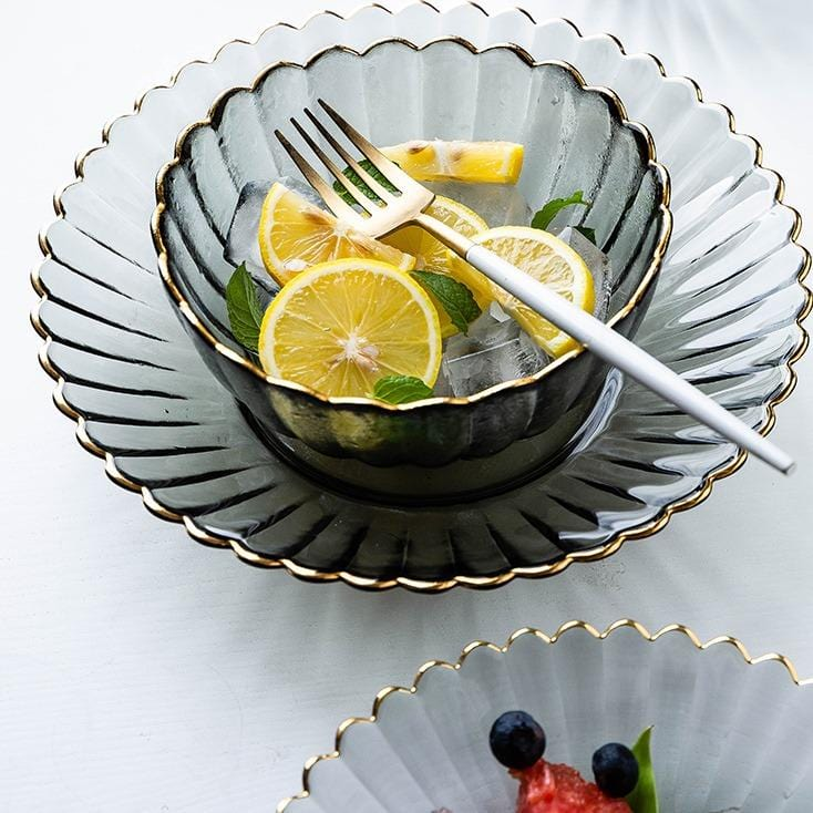 Cyd | Glass with Gold Rim Dinnerware