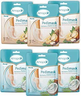 Amope Pedimask 20-Minute Foot Mask - Coconut & Macadamia Oil 6-Pack