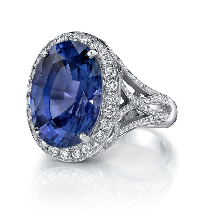 Platinum Sapphire Oval Ring, 10.24 carats