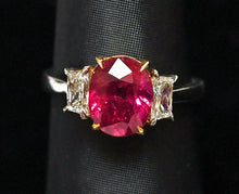 Load image into Gallery viewer, Oval Ruby, 3.57 carat unheated Mozambique and Diamond Ring in Platinum and 18K Yellow Gold