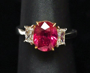Oval Ruby, 3.57 carat unheated Mozambique and Diamond Ring in Platinum and 18K Yellow Gold