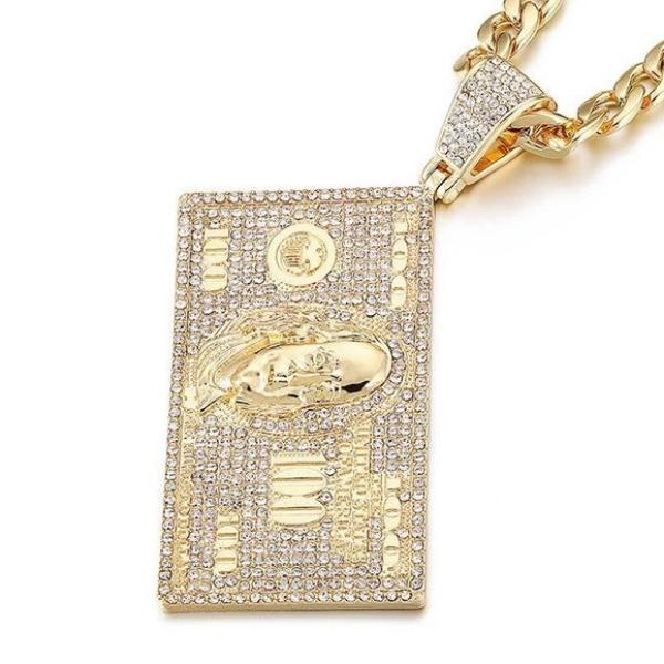 'Benjamins' Large (Gold/White Gold) Hundred Dollar Bill Pendant - Drip For Men