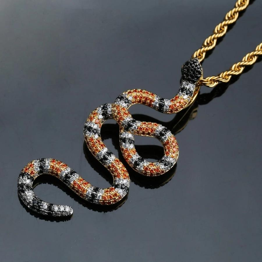 'Coral Snake' (Orange/Purple) Pattern Pendant - Drip For Men